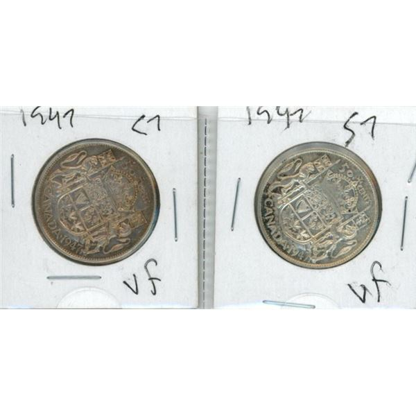 (2) 1947 Canadian Silver 50 Cent