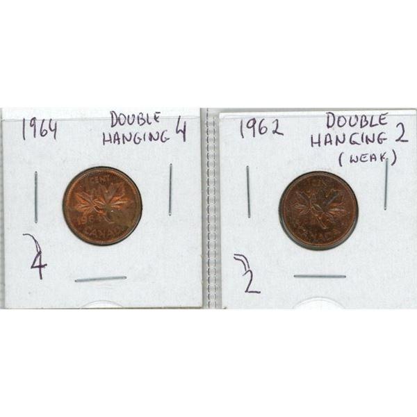 (2) 1962-1964 Canadian Pennies