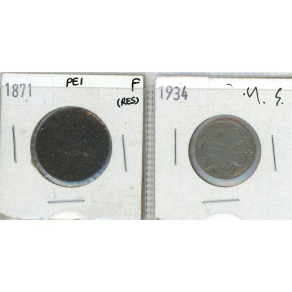 1871 PEI Penny + 1934 Buffalo/Indian Head Nickel