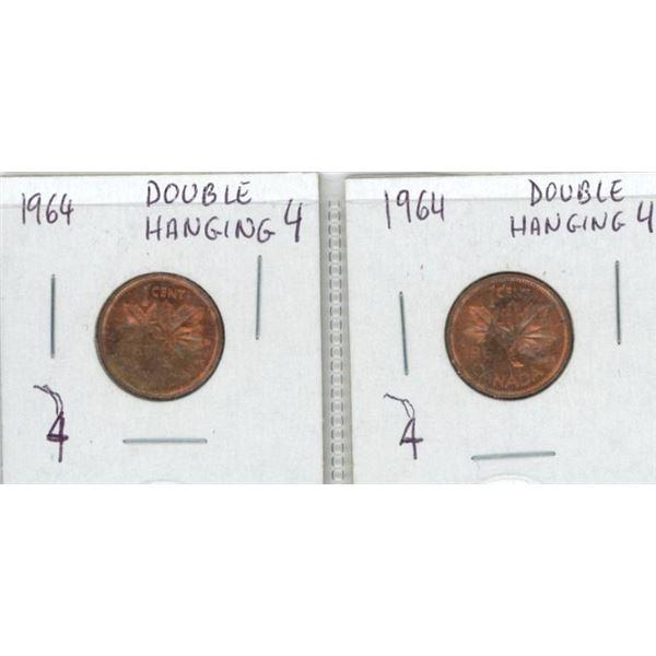 (2) 1964 Canadian Pennies