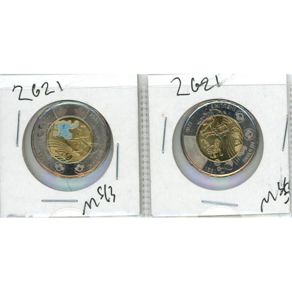 (2) 2021 Canadian Toonies (One Colourized)