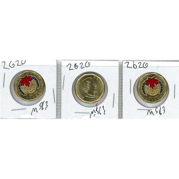 (3) 2020 Special Coloured Loonies (75th Anniversary Of The United Nations Charter)