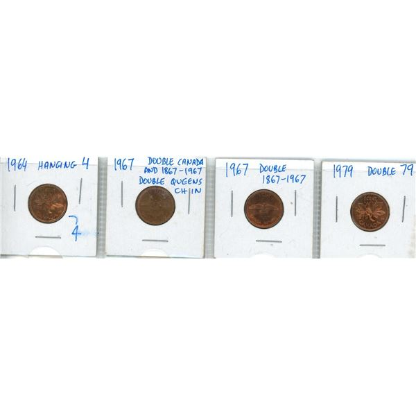 (4) 1964-1979 Canadian Pennies