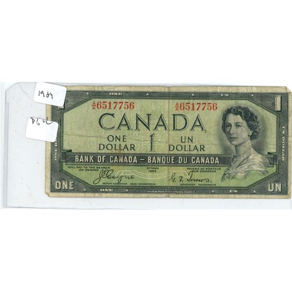 1954 Canadian Dollar Bill