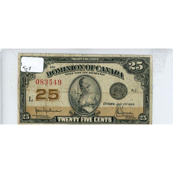 1923 Dominion Of Canada 25 Cent Bill