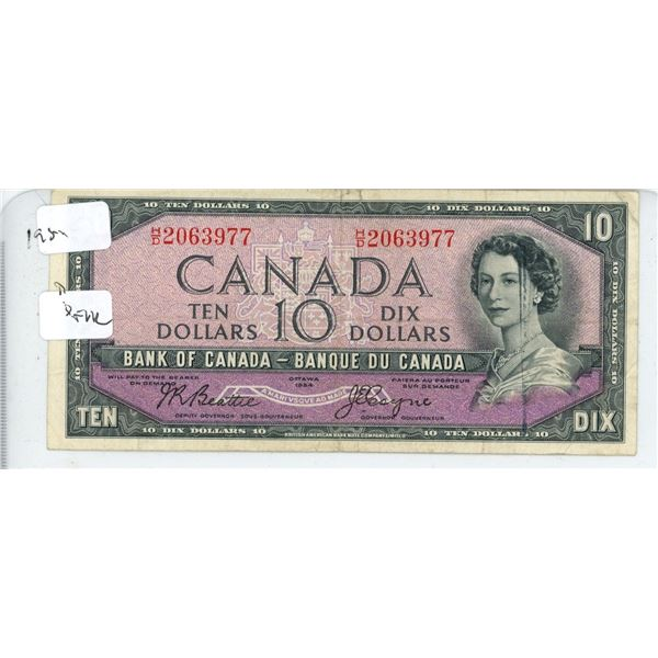 1954 Canadian Ten Dollar Bill