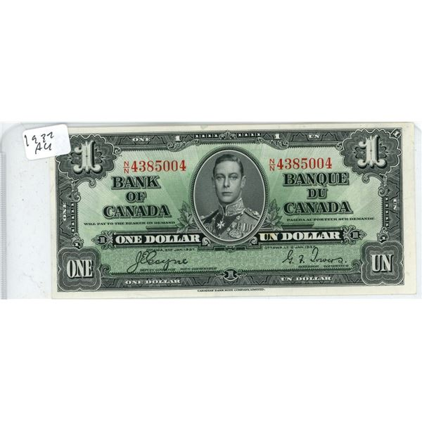 1937 Canadian Dollar Bill