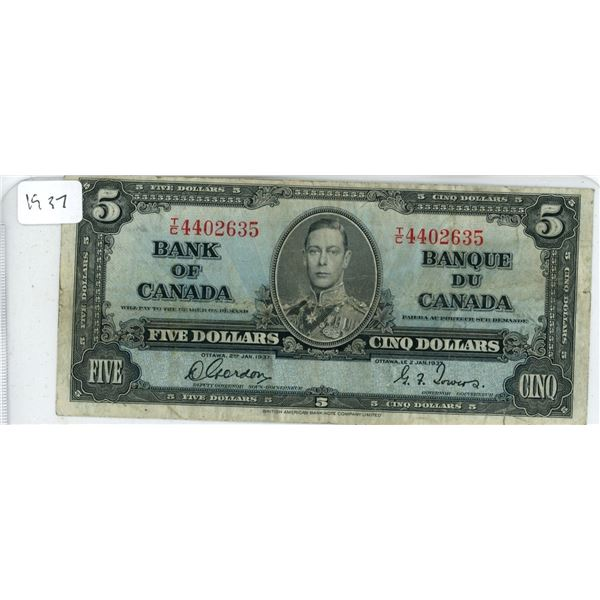 1937 Canadian Five Dollar Bill