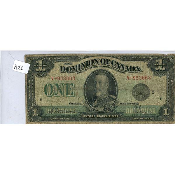 1923 Dominion Of Canada Dollar Bill