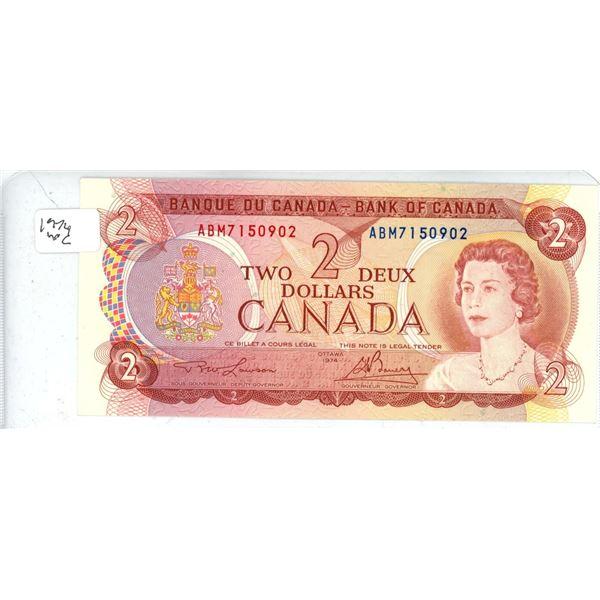 1974 Canadian Two Dollar Bill