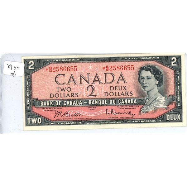 1954 Canadian Two Dollar Bill