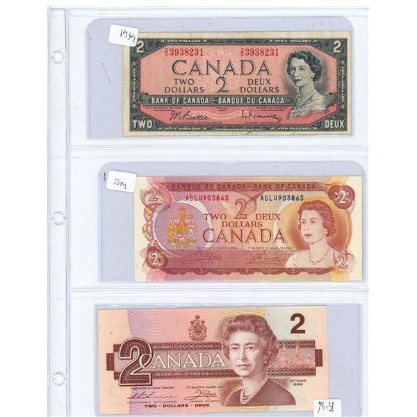(3) 1954-1986 Canadian Two Dollar Bills