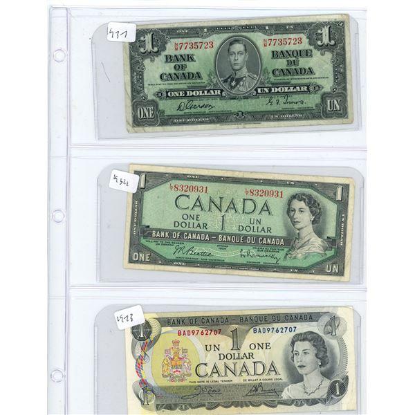 (3) 1937-1973 Canadian One Dollar Bills
