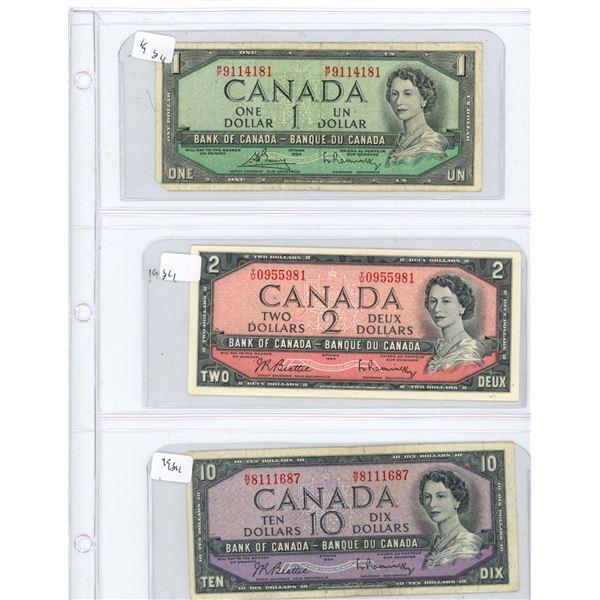 (3) 1954 Canadian One Dollar, Two Dollar, And Ten Dollar Bills