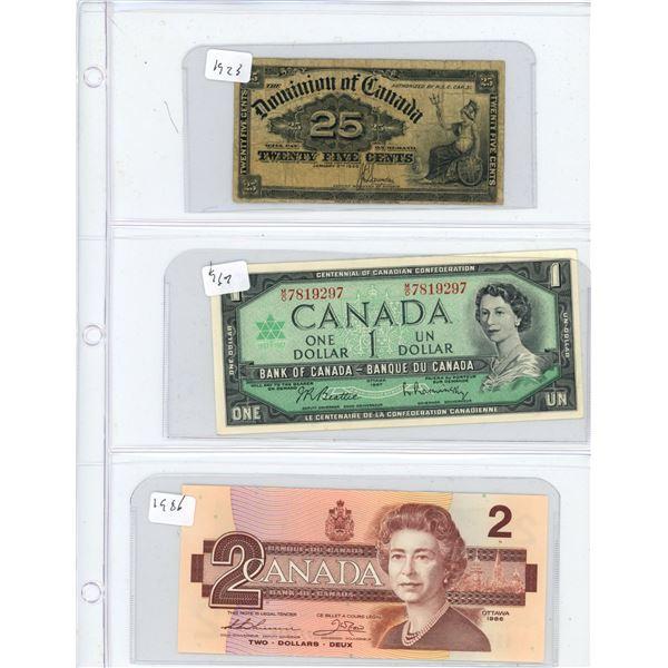 (3) 1900-1986 Canadian Twenty Five Cent, One Dollar, Two Dollar Bills