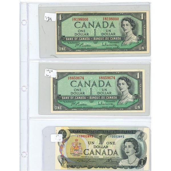 (3) 1954-1973 Canadian One Dollar Bills