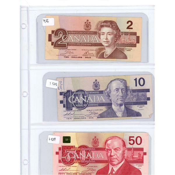 (3) 1986-1988 Canadian One Dollar, Two Dollar, Fifty Dollar Bills