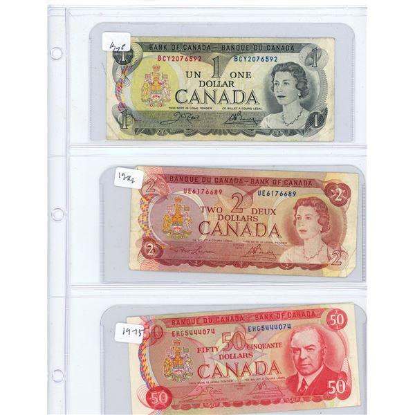 (3) 1973-1975 Canadian One Dollar, Two Dollar, Fifty Dollar Bills