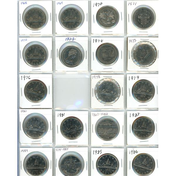 Sheet Of (19) 1968-1986 Canadian One Dollar Coins