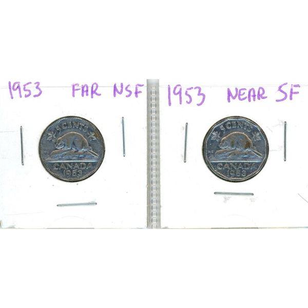 (2) 1953 Canadian Nickels