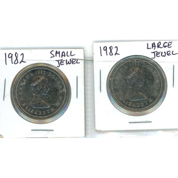 (2) 1982 Canadian One Dollar Coins