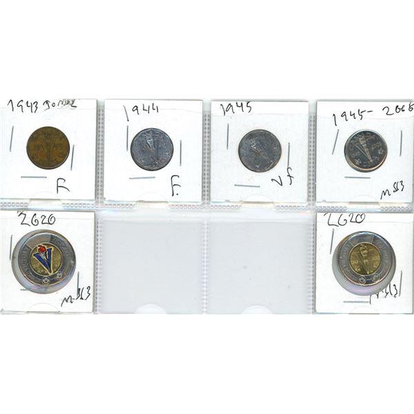 (6) 1943-2020 Victory Nickels + Toonies (1 Toonie Colourized)