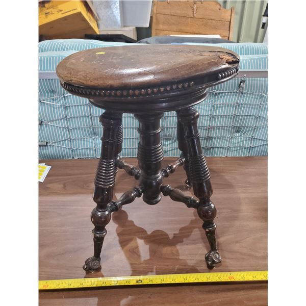 GLASS CLAW FOOTED PIANO STOOL