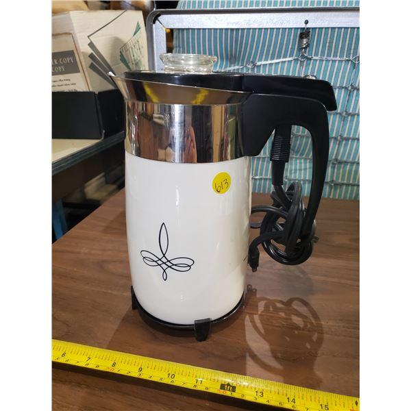 CORNINGWARE TRIFOIL 10 CUP ELECTRIC PERCOLATOR