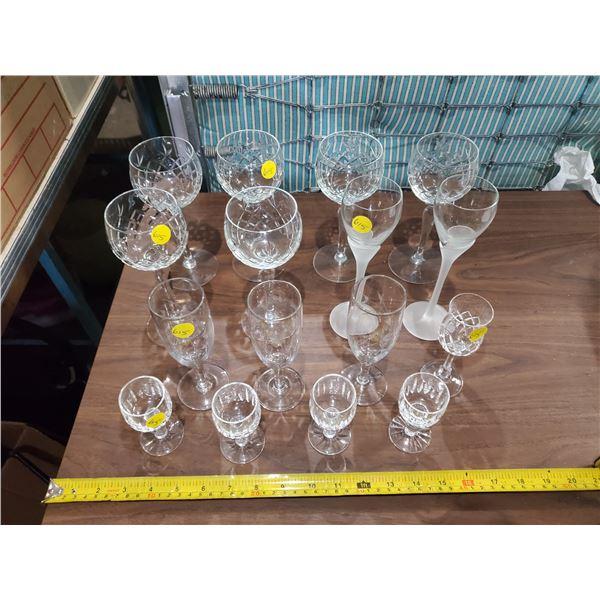 16 CRYSTAL GLASSES