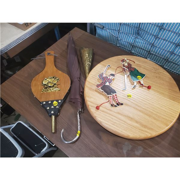 MISC LOT -BELLOWS, TABLETOP LAZY SUSAN, VASE, PULL STRING TOYS