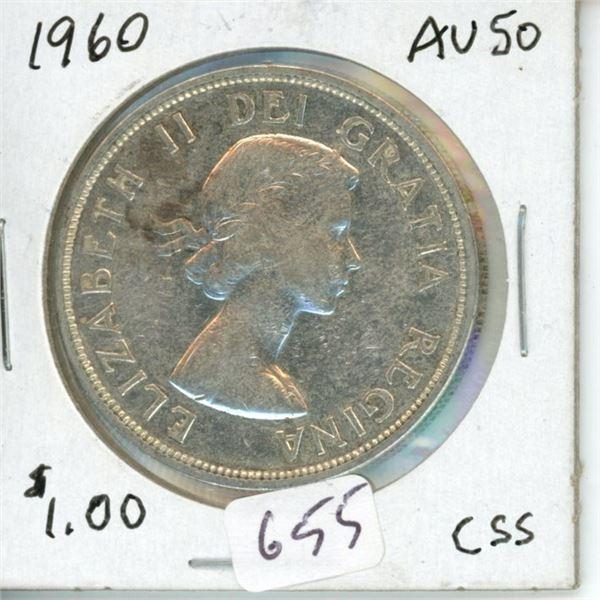1960 silver dollar Canada 1$ coin -80% silver
