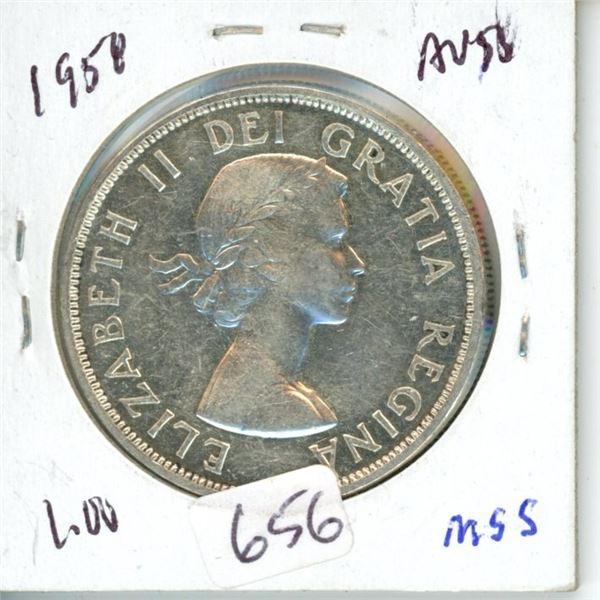 1958 BC Centennial Canada silver dollar 1$ coin -80% silver