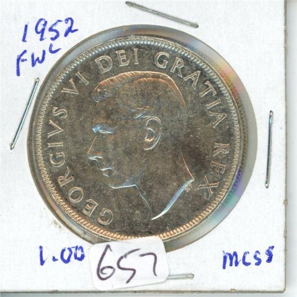 1952 silver dollar Canada 1$ coin -80% silver
