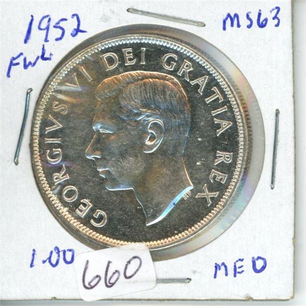 1952 silver dollar 1$ coin Canada -80% silver