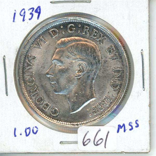 1939 silver dollar 1$ coin Canada -80% silver