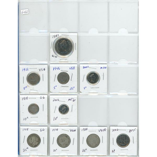 page of coins 1915 to 2002 Canada dollar 1$ coin quarter nickel dime .25 .10 .05
