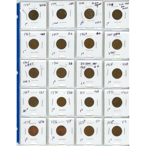 page of coins 1941 to 1978 pennies Canada coin cent