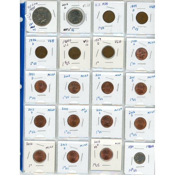 page of coins USA United states 1929+ fifty cent .50 quarter .25 dime .10 pennies coin cent