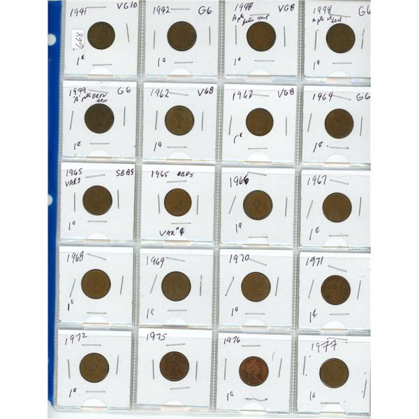 page of coins 1941 to 1977 pennies Canada coin cent