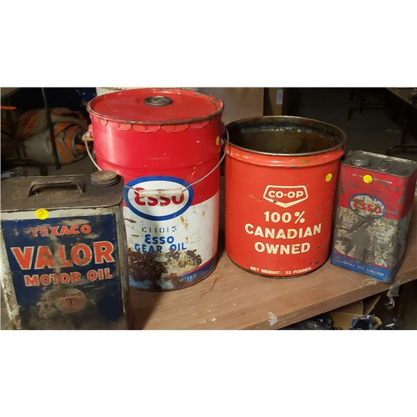 four large Assorted cans petroliana Texaco