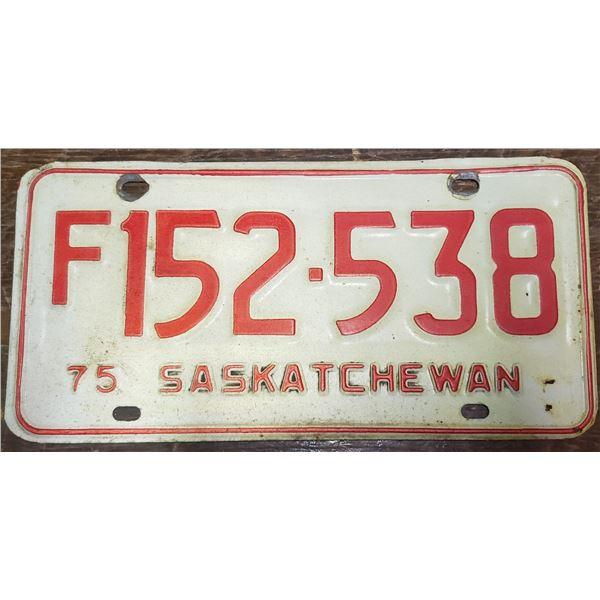 license plate Saskatchewan 1975 vintage