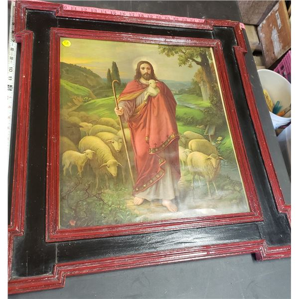 """religious picture Jesus tending to lambs sheep framed black and red approx. 26"""" x 24"""""""