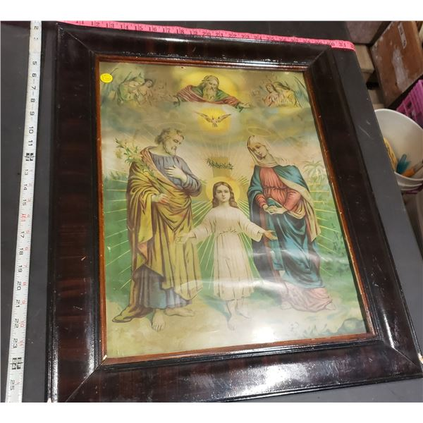 """religious print framed dark would frame young Jesus Mary and Joseph approx. 24""""x20"""""""