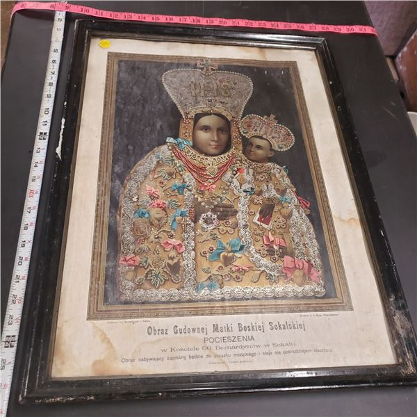 """religious print framed Polish water damaged Approx. 24"""" x 19"""""""