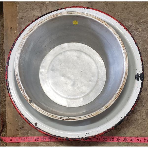 two large bowls one enamel one aluminum