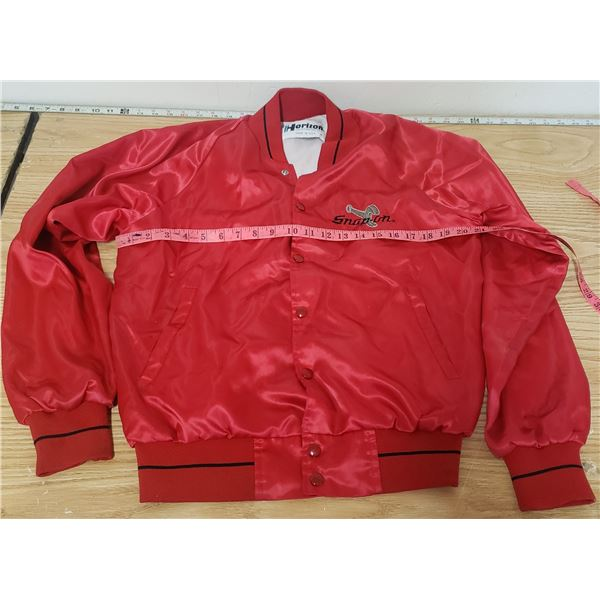 Snap-On jacket. Couple small paint looking spots. Medium red snap up coat. Made in USA