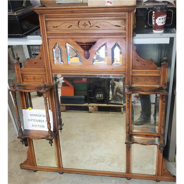 """Large mirror shelf approximately 47"""" x 47"""" with spindles and contoured edges"""