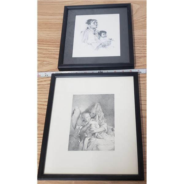 """Two Mother and child framed prints Vera Louise Drysdale Navajo """"Mother and Child"""" and Numbered print"""
