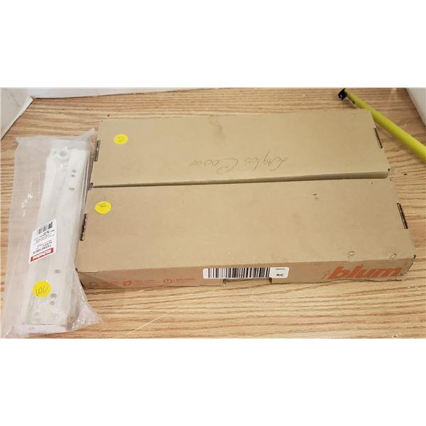 lot of assorted drawer parts pulls sides tandem box parts slides etc.
