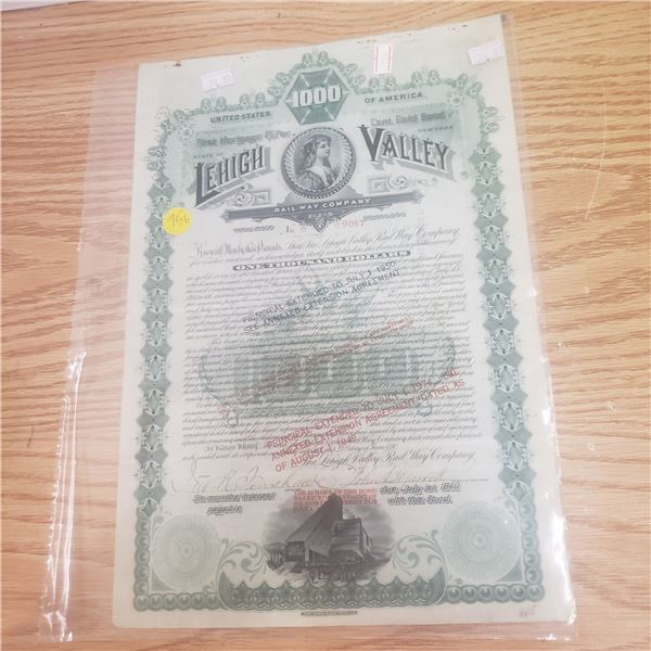 1000 bond with Leigh Valley Railway Co 1940